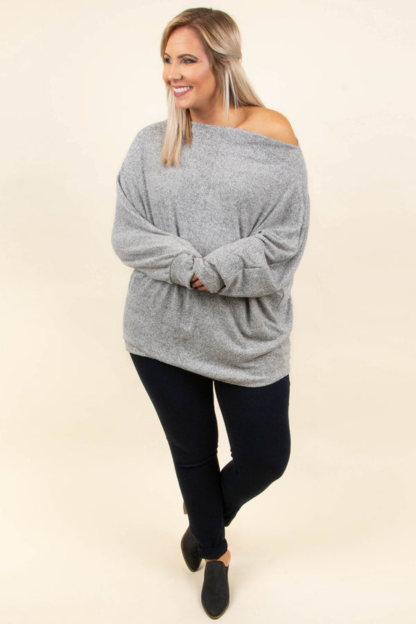 Time To Unwind Top, Heather Gray
