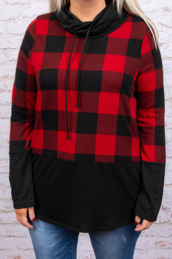 pullover, black, red, plaid, black, collar, cowl neck, drawstring collar, outerwear, fall, winter