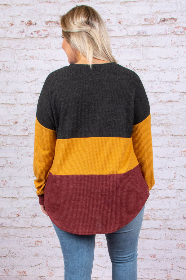 sweater, long sleeve, tie front, charcoal, red, mustard, colorblock, longer back, comfy, fall, winter