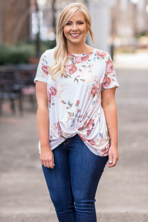 shirt, short sleeve, knotted hemline, short front, white, floral, pink, tan, green, blue, comfy