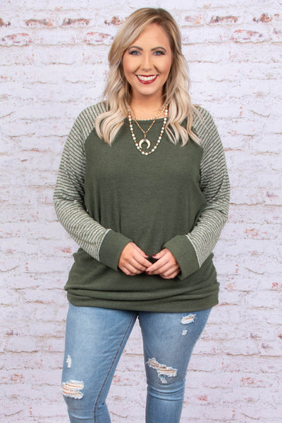 sweater, long sleeve, fitted, olive, striped sleeves, gray, comfy, fall, winter