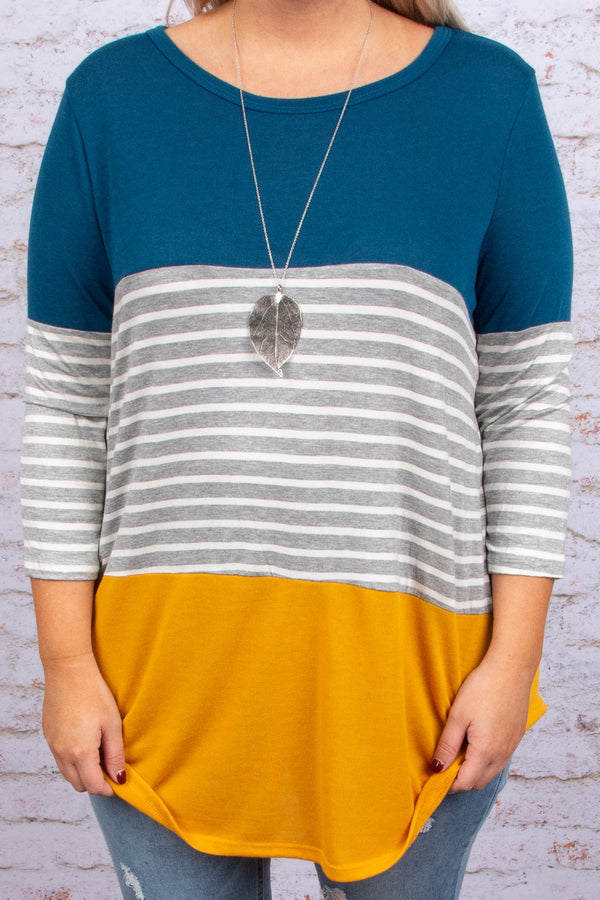 tunic, three quarter sleeve, curved hem, teal, gray, white, mustard, stripes, colorblock, comfy, long, fall, winter