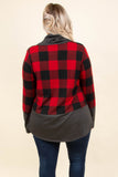 pullover, long sleeve, cowl neck, drawstring neck, red, black, plaid, gray neck, gray thick cuff, gray thick hem, outerwear, cozy, warm, fall