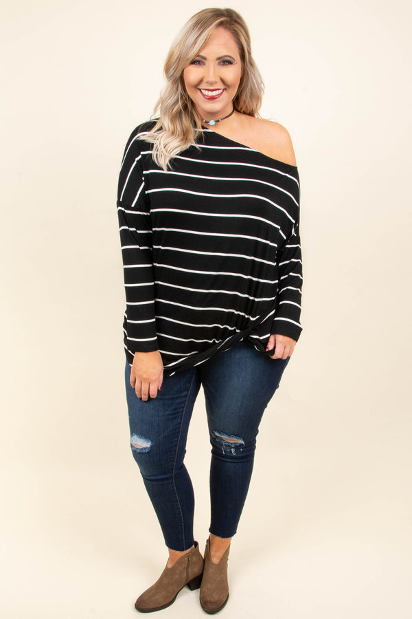 Stripe Babe Top, Black