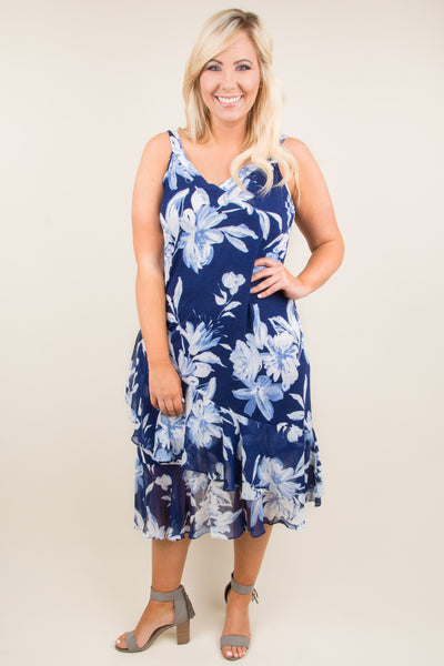 Along The Waterway Dress, Navy