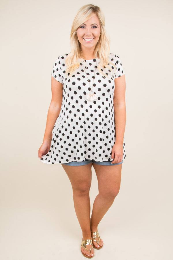 top, short sleeve, polka dot, white, black, comfy, summer, spring, tunic