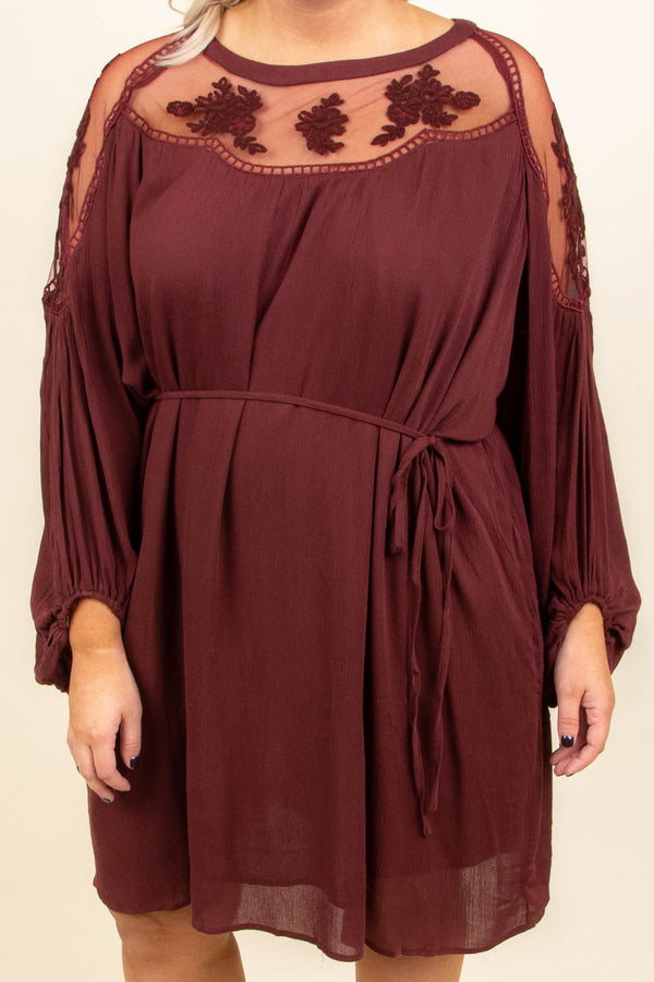 dress, short, long sleeve, bubble sleeves, tie waist, flowy, burgundy, lace shoulders, lace top, comfy