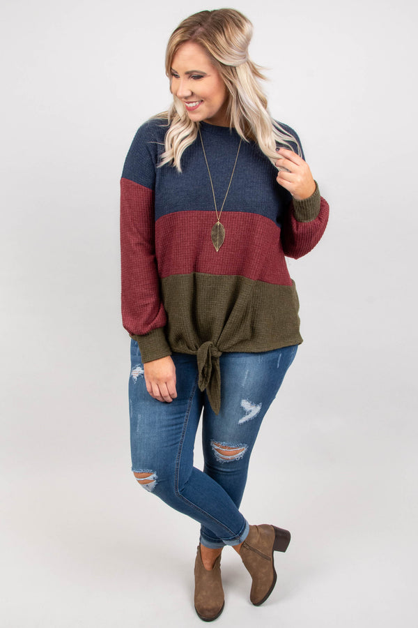 By The Book Sweater, Navy-Burgundy