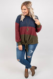 sweater, long sleeve, tie front, blue, red, green, colorblock, longer back, comfy, fall, winter