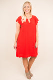 dress, short, short sleeve, key hole neckline, scallop hem, red, tomato