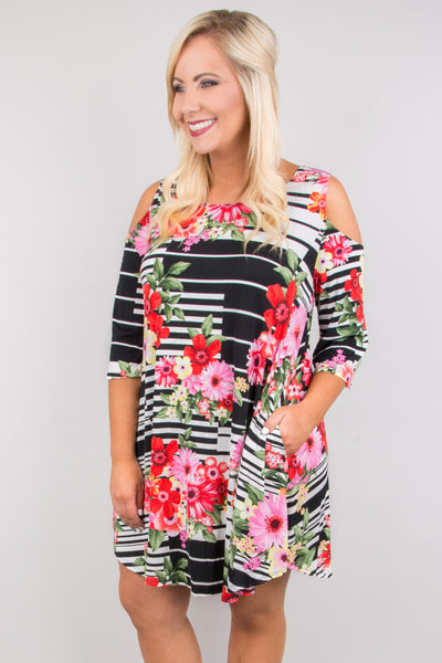 dress, cold shoulder, floral, striped