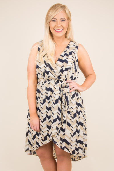 Abstract Beauty Dress, Navy