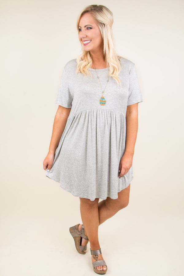dress, short, babydoll, curved hem, short sleeve, flowy, gray, comfy