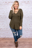 top, long sleeve, olive, fall, v neck, criss cross detail, solid, soft
