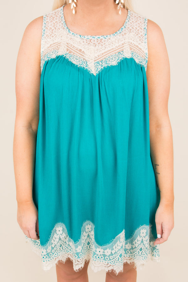 Laced With Love Dress, Teal