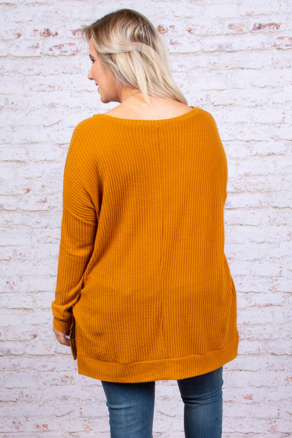 tops, tunic, waffle knit, yellow, solid, long sleeve, v neck