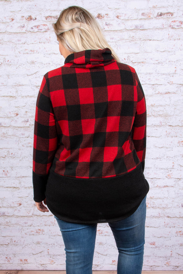 Not Plaid About It Sweater, Red