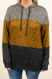 pullover, long sleeve, hood, drawstrings, comfy, gray, mustard, black, heathered, colorblock, outerwear