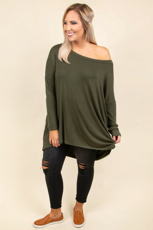 top, tunic, green, olive, solid, long sleeve, off the shoulder, comfy casual, fall, winter