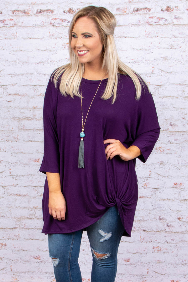 tunic, three quarter sleeve, knotted hem, long, loose, eggplant, comfy