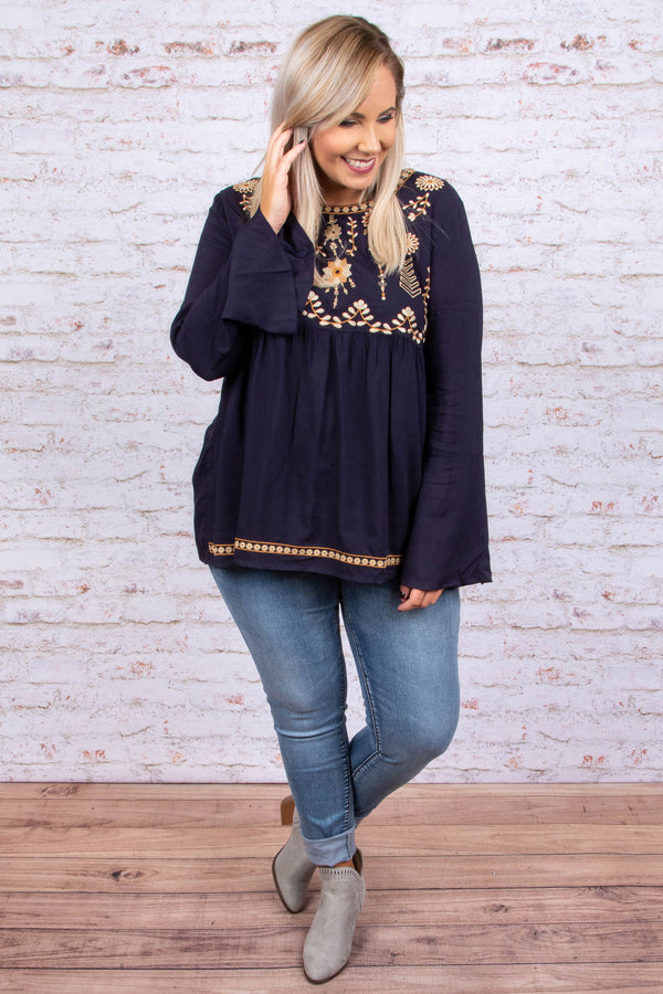 Perfect Impression Top, Navy