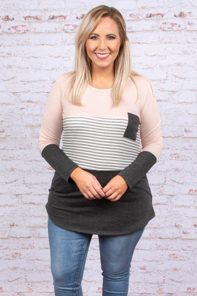 shirt, long sleeve, curved hem, scoop neck, chest pocket, pink, gray, white, stripes, colorblock, comfy, fall, winter