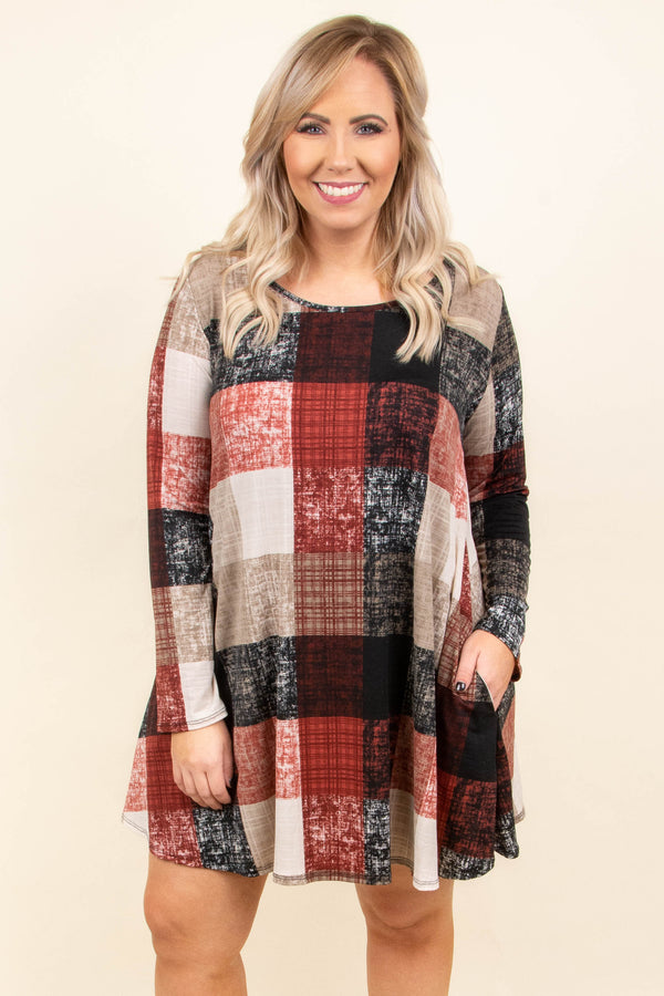 Around The Fire Dress, Burgundy