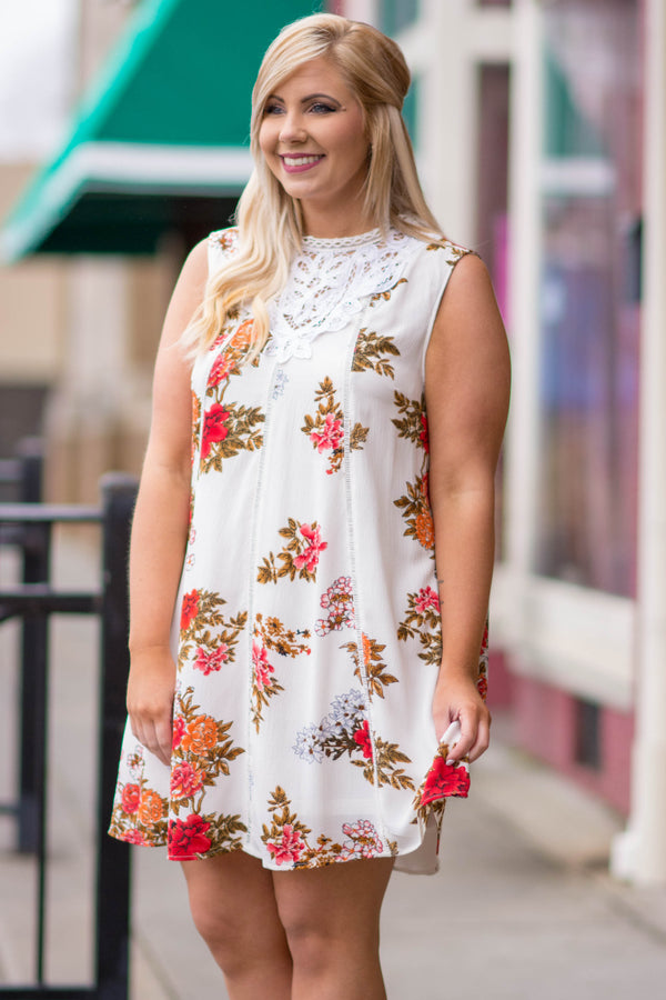 dress, short, sleeveless, crochet top, off white, floral print, red, flowy