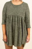 dress, short, three quarter sleeve, olive, flowy