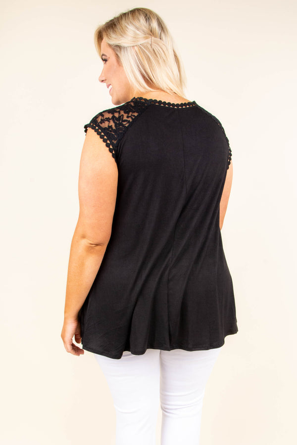 shirt, cap sleeve, lace top, flowy, black, comfy