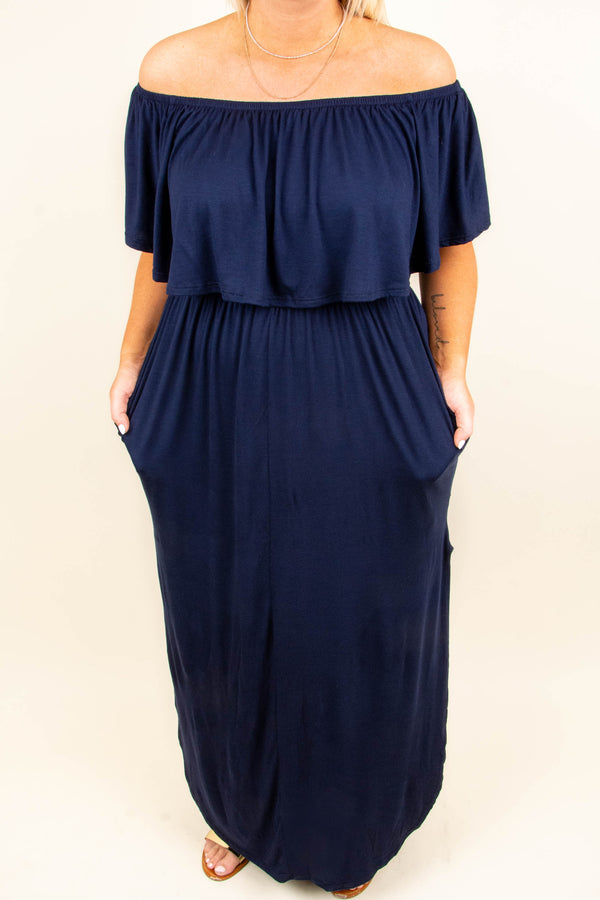 dress, maxi, off the shoulder, pockets, ruffle top, flowy skirt, high slit, navy, solid, comfy
