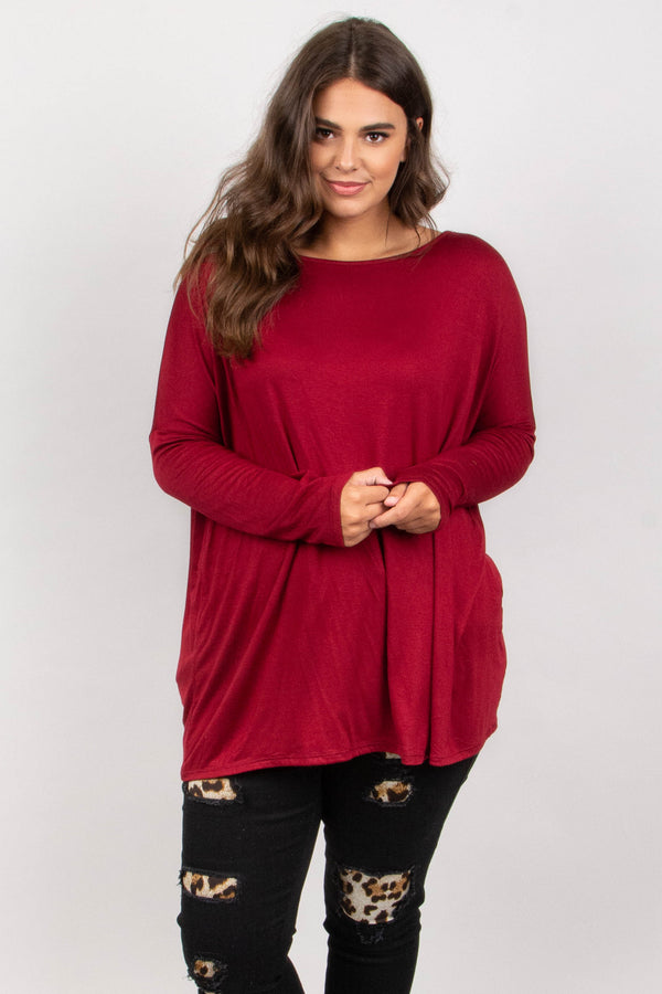 Born Ready Top, Burgundy