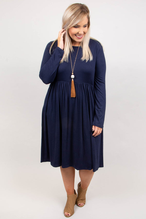 dress, navy, knee length, long sleeve, pockets, flowy
