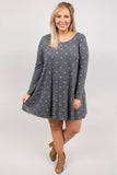 dress, short, long sleeve, pockets, flowy, gray, polka dots, white, comfy, fall, winter