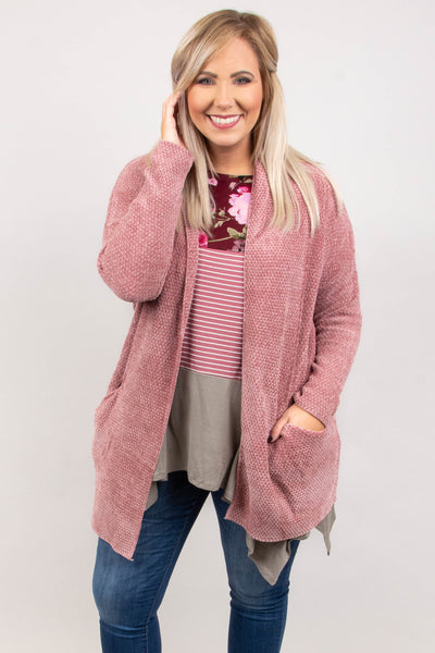 Chill Factor Cardigan, Mauve