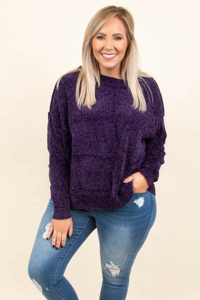 Staying Close To You Sweater, Purple