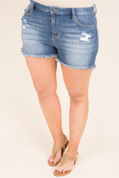 Just A Fling Shorts, Medium Wash