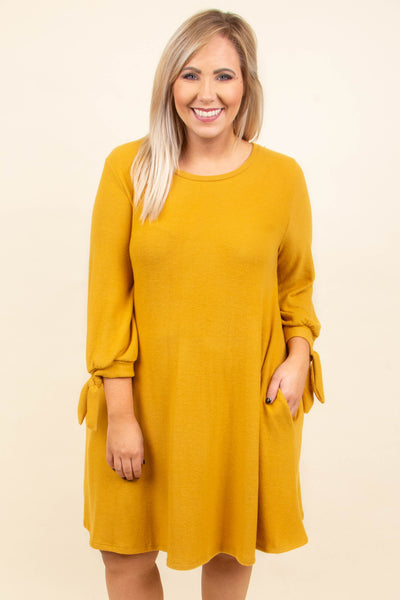 Blissful Beginnings Dress, Mustard