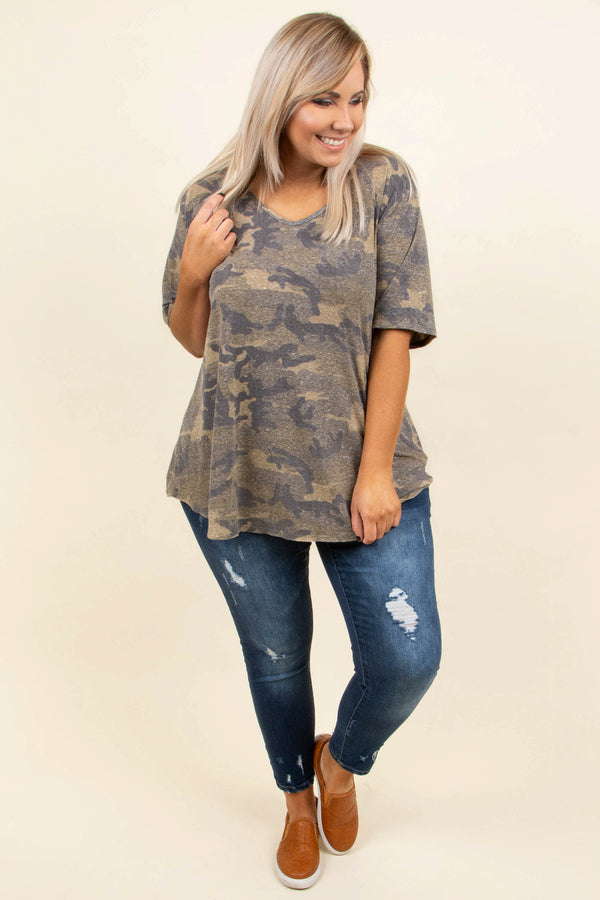 shirt, short sleeve, curved hem, vneck, flowy, olive, camo, comfy, faded