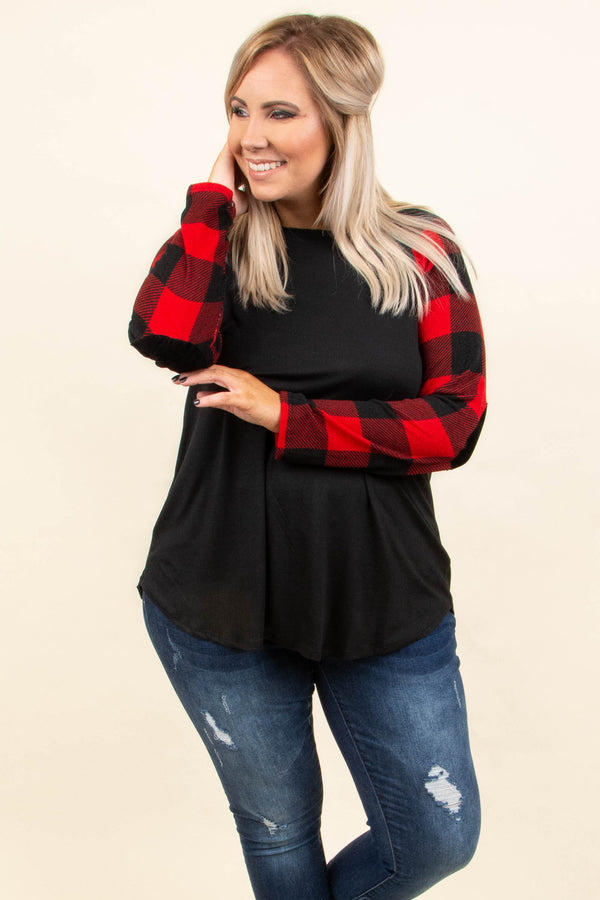 top, plaid, long sleeve, red, black