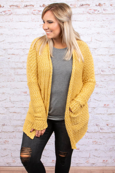 top, cardigan,long sleeve, yellow, pockets, long sleeve, open front, soft, popcorn