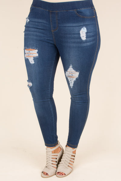 jegging, distressed, ripped, skinny, dark wash, blue