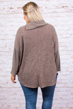 sweater, long sleeve, cowl neck, button neckline, flowy, mocha, heathered, comfy, fall, winter