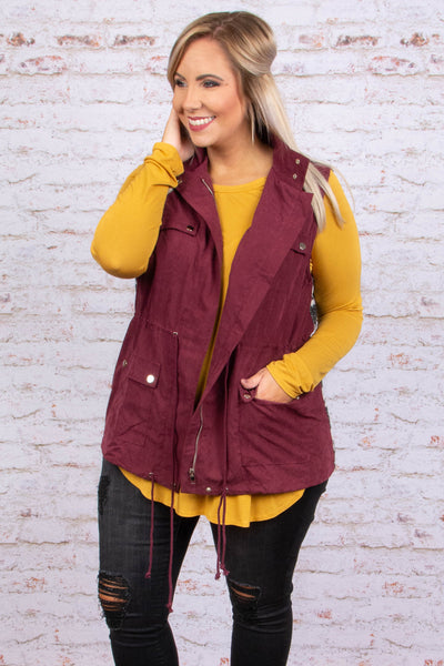 Nothing But Warmth Vest, Burgundy