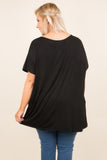 tunic, short sleeve, black, solid, comfy, flowy, side slits