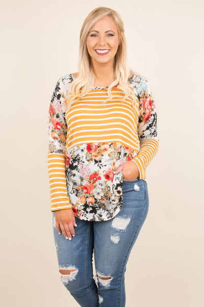 top, long sleeve, stripes, floral, fall