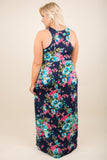 dress, maxi, floral, sleeveless, blue, pink, green, mint, high neckline