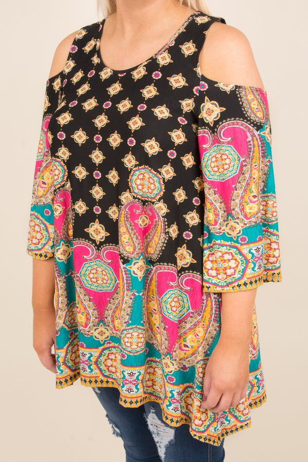 Paisley Please Tunic, Black