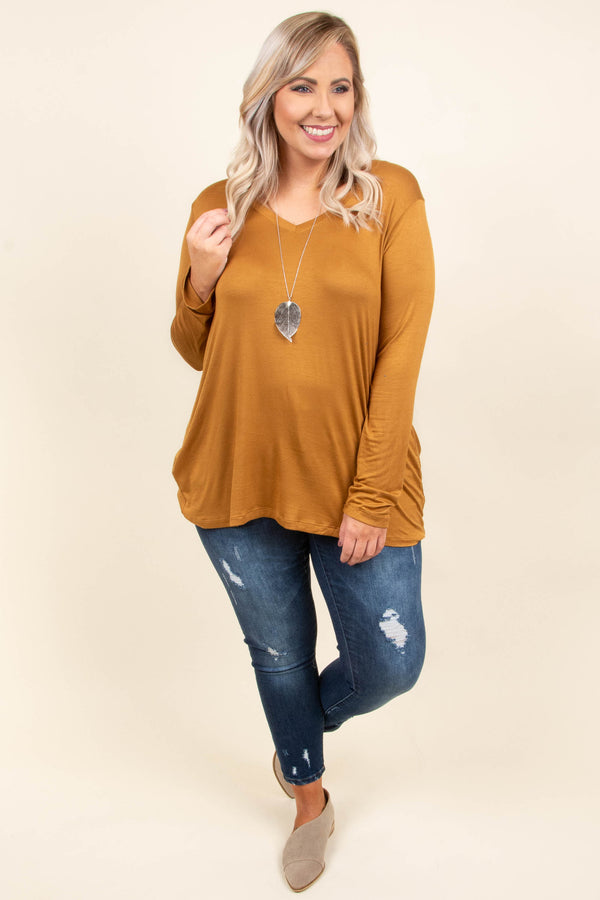 top, long sleeve, flowy, brown, coffee, v neck