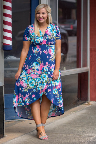 dress, maxi, short sleeve, vneck, wrap top, high low cut, flowy, navy, floral, blue, green, pink, comfy, spring, summer
